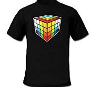 voordelige -LED T-shirts Door Geluid Geactiveerde LED Lampen Katoen Noviteit 2 AAA Batterijen