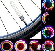 economico -LED Luci bici Luci per tappo della valvola luci della rotella Ciclismo da montagna Bicicletta Ciclismo Batterie Impermeabile Portatile Avvertenze Facile da applicare Batteria Ciclismo