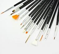 abordables -15pcs Poil Synthétique Bois Outils de manucure pour les ongles Style mini simple Outil Nail Art Brosse acrylique pour ongles Brosses à ongles pour Pinceau en Acrylique