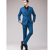 abordables -Bleu Coupe Slim Costume - Cranté Fin Droit 1 bouton / costumes