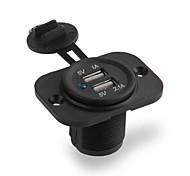 economico -Presa di corrente per caricabatterie per auto con doppia porta USB 5v 3.1a per telefoni cellulari con ipad iphone auto moto barca presa di corrente a led