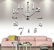 abordables -grande horloge murale bricolage sans cadre, horloge murale 3d moderne avec miroir autocollants numéros pour cadeau de décorations de bureau à domicile