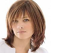 abordables -Perruque Synthétique Droit Avec Frange Perruque Moyen Brun claire Cheveux Synthétiques Femme Haute Qualité Marron