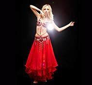 abordables -Danse du ventre Jupe Billes Paillette Femme Entraînement Sans Manches Taille moyenne Polyester / Salle de bal