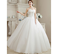 abordables -Robe de Soirée Robes de mariée Coeur Longueur Sol Organza Sans Bretelles Glamour Scintillant & Brillant avec Billes Fleur 2021