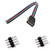 economico -4pin femal colorato connettore luci led + 2 x 4pin connettore maschio per rgb 5050/3528 luce di striscia la connessione