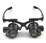 abordables -Casque / lunettes loupe LED haute définition 10/15/20/25 x 15 mm loupe en plastique loupe de réparation d'horloge de bijoux avec lumières LED et 6 lentilles interchangeables