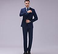 abordables -Bleu Couleur Pleine Coupe Slim Polyester Costume - Cranté Fin Droit 2 boutons
