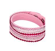 economico -Per donna Cristallo Dell'involucro del braccialetto Bracciali in pelle Multistrato impilabile A buon mercato Donne Originale Essenziale Di tendenza Multistrato Cristallo Gioielli braccialetto Bianco