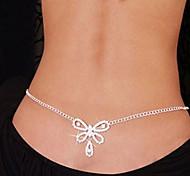 abordables -Chaîne de Corps Chaîne Tour de Taille dames unique Mode Femme Bijoux de Corps Pour Regalos de Navidad Décontracté Strass Imitation de diamant Cœur Nœud Blanche