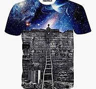 abordables -Homme T-shirt Galaxie Graphique Imprimé Manches Courtes Quotidien Hauts Bleu Roi