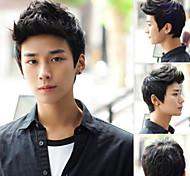 abordables -la mode de haute qualité noire courte perruque de cheveux synthétiques hommes