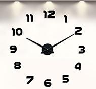 abordables -horloge murale sans cadre bricolage, grands stickers muraux muets d'horloge murale 3d pour les décorations pour la maison de chambre à coucher de salon (noir) 100*100cm