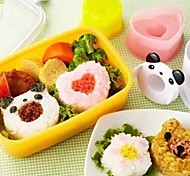 abordables -Panda Flowers coeurs riz forme rouleau moule les cookies coupe mignon de biscuit ensemble bricolage de 4