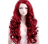 abordables -Perruque Synthétique Bouclé Partie latérale Perruque Longue Rouge Cheveux Synthétiques Femme Haute Qualité Rouge