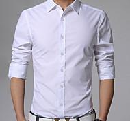abordables -Homme Chemise Couleur Pleine Grandes Tailles Manches Longues Quotidien Hauts Entreprise Simple Blanche Noir Jaune