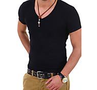 abordables -Homme T-shirt Couleur Pleine Grandes Tailles Manches Courtes Quotidien Hauts Blanche Noir Bleu marine