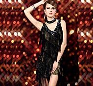 abordables -Danse latine Robe Gland Femme Utilisation Sans Manches Nylon Spandex Coton