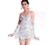 abordables -Danse latine Robe Paillette Femme Utilisation Sans Manches Spandex Polyester