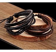 economico -Per uomo Per donna Dell'involucro del braccialetto Bracciali in pelle Multistrato impilabile intrecciata A buon mercato Donne Multistrato Pelle Gioielli braccialetto Nero / Caffè Per Casuale