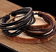 economico -Per donna Dell'involucro del braccialetto Bracciali in pelle Multistrato intrecciato Attorcigliato A buon mercato Donne Essenziale Casuale Vintage ▾ Multistrato Pelle Gioielli braccialetto Nero