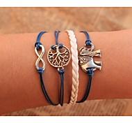 abordables -Chaînes Bracelets Bracelet Multi Tour Bracelets en cuir Corde Cuir Arbre de la vie Animal Infini dames Personnalisé unique Bracelet Bijoux Bleu pour Soirée Quotidien Décontracté
