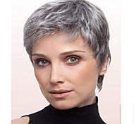 abordables -Perruque Synthétique Droit Droite Perruque Court Grise Cheveux Synthétiques Gris