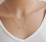 economico -madre figlia collana infinito collana pendente doppia collana galleggiante da donna in lega d'oro a doppio strato di base gioielli in argento