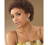 abordables -Perruque Synthétique Kinky Curly Très Frisé Perruque Court Marron Cheveux Synthétiques Femme Perruque afro-américaine Sans colle Marron