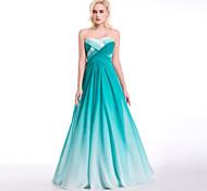 abordables -Robe de Soirée robe ceremonie Robe Coeur Longueur Sol Mousseline de soie avec Drapée Motif / Impression Pan drapé 2021