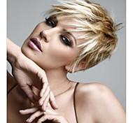 abordables -Perruque Synthétique Ondulation Naturelle Ondulé Coupe Lutin Avec Frange Perruque Court Blond Cheveux Synthétiques Femme Blond