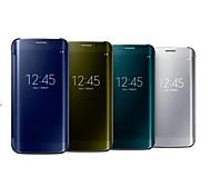 economico -telefono Custodia Per Samsung Galaxy Integrale Bordo S7 S7 Bordo S6 S6 Con sportello visore A specchio Con chiusura magnetica Tinta unita PC