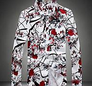 abordables -Homme Chemise Fleur Grandes Tailles Imprimé Manches Longues Quotidien Hauts Rouge Gris