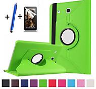 abordables -téléphone Coque Pour Samsung Galaxy Coque Intégrale Onglet E 9.6 Rotation à 360 ° Avec Support Clapet Couleur Pleine Dur faux cuir