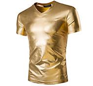 economico -Per uomo maglietta Tinta unita Manica corta Quotidiano Top Essenziale Esagerato Nero Oro Argento