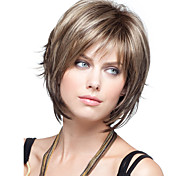 abordables -Perruque Synthétique Droit Droite Perruque Court Marron Cheveux Synthétiques Femme Marron