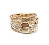 abordables -Bracelet enveloppant Bracelets en cuir Bracelets en fil de mémoire Femme Multirang Perles Torsadé Cristal Cuir Imitation de diamant Infini dames Personnalisé Luxe Multicouches Bracelet Bijoux Noir