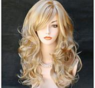 abordables -Perruque Synthétique Ondulation naturelle Ondulé Avec Frange Perruque Longue Noir Noir / Rouge Blond Cheveux Synthétiques 22 pouce Femme Partie latérale Blond