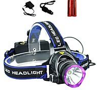 abordables -LS1792 Lampes Frontales Phare Avant de Moto Tactique Imperméable 2000 lm LED LED 1 Émetteurs 3 Mode d'Eclairage avec Piles et Chargeurs Tactique Imperméable Fonction Zoom Rechargeable Faisceau