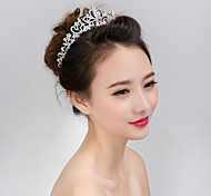 abordables -Femme Fille Tiare Pour Mariage Soirée Fête scolaire Couronne Royauté de retour à la maison Fleur Perle Cristal Imitation de diamant Argent