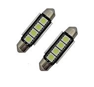 abordables -jiawen 2pcs 42mm 1.5w 80-90 lm lumière de voiture liseuse décoration lumière 4 leds smd 5050 blanc froid dc 12v