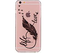 economico -telefono Custodia Per Apple Per retro iPhone 6s Plus iPhone 6s iPhone 6 Plus iPhone 6 Transparente Fantasia / disegno Piume Morbido TPU