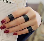 economico -Anello a fascia Nero Argento Amore Donne Personalizzato Stravagante 3 pezzi Taglia unica / Per donna