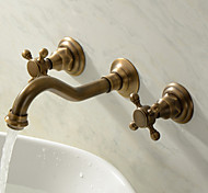 abordables -Robinet lavabo - Montage mural / Séparé Fileté / Antique Montage mural Deux poignées trois trousBath Taps