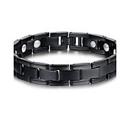 economico -Per uomo Bracciali a catena e maglie Di tendenza Europeo Gioielli iniziale Acciaio al titanio Gioielli braccialetto Nero Per Regali di Natale
