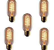 economico -5 pezzi 40 W E26 / E27 T45 Bianco caldo 2300 k Retrò / Oscurabile / Decorativo Lampadina a incandescenza vintage Edison 220-240 V