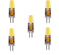 abordables -ywxlight® 5pcs 5w 200-300lm g4 led lumières bi-broches cob chip 360 lumières d'angle de faisceau remplacent 30w halogène g4 spot ac / dc12-24v