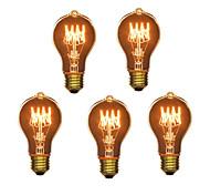 economico -5 pezzi 40 W E26 / E27 A60(A19) Bianco caldo 2300 k Retrò / Oscurabile / Decorativo Incandescente Vintage Edison Lampadina 220-240 V