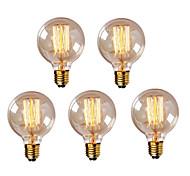 economico -5 pezzi 40 W E26 / E27 G95 Bianco caldo 2300 k Retrò / Oscurabile / Decorativo Lampadina a incandescenza vintage Edison 220-240 V