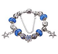 abordables -Breloque Charms Bracelet Bracelet à Perles Femme Fille Cristal Strass Plaqué argent Imitation Diamant Luxe Européen Mode Bracelet Bijoux Vert Bleu Bleu clair Forme Géométrique pour Soirée Quotidien